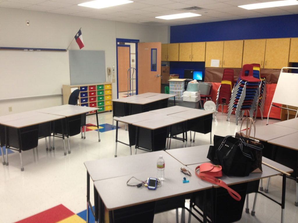 A classroom in the process of being set up