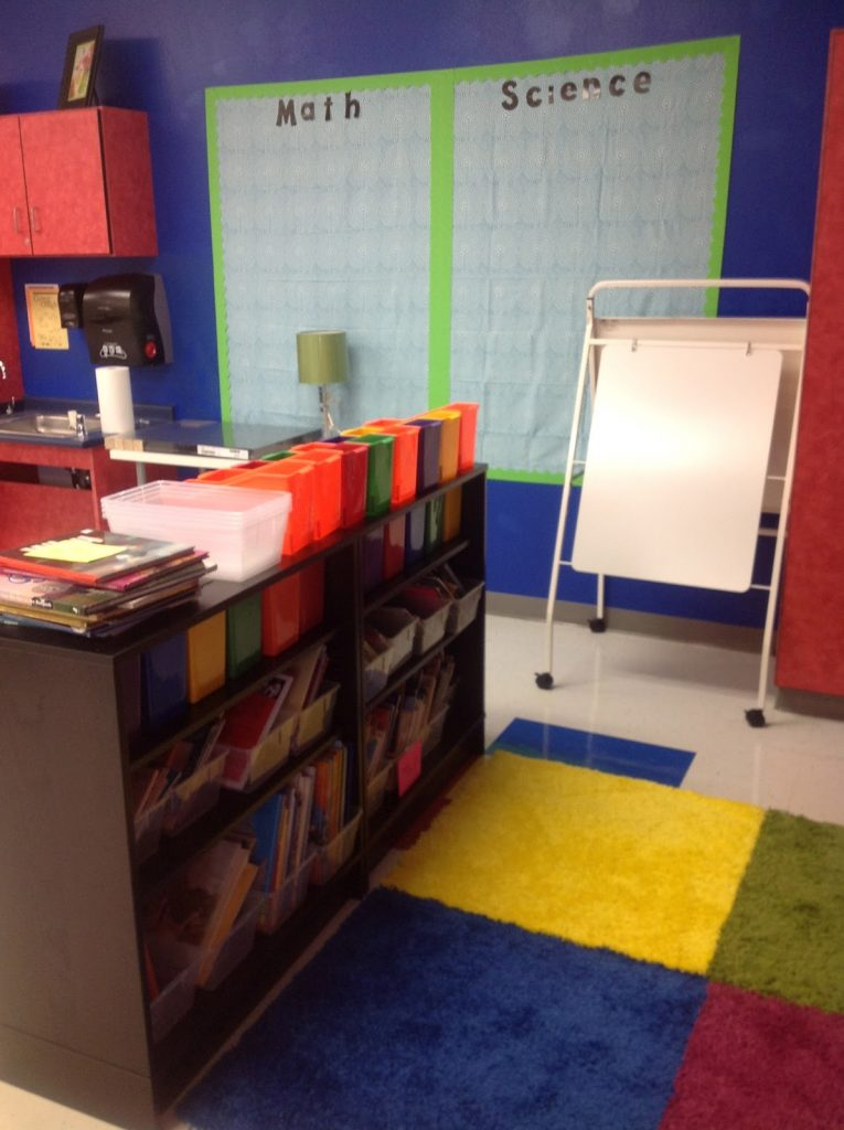 A library reading book inside a classroom