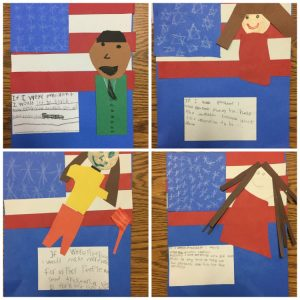 Collage of projects students made writing about what they would do as president.