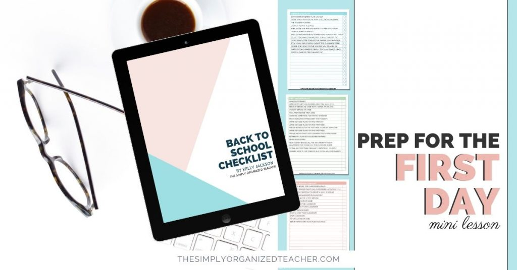 """Screen shot of resource. Text overlay: \""""Prep for the First Day Mini-Lesson.\"""""""