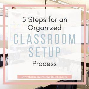 "Classroom. Text overlay: ""5 Steps for an Organized Classroom setup Process"""