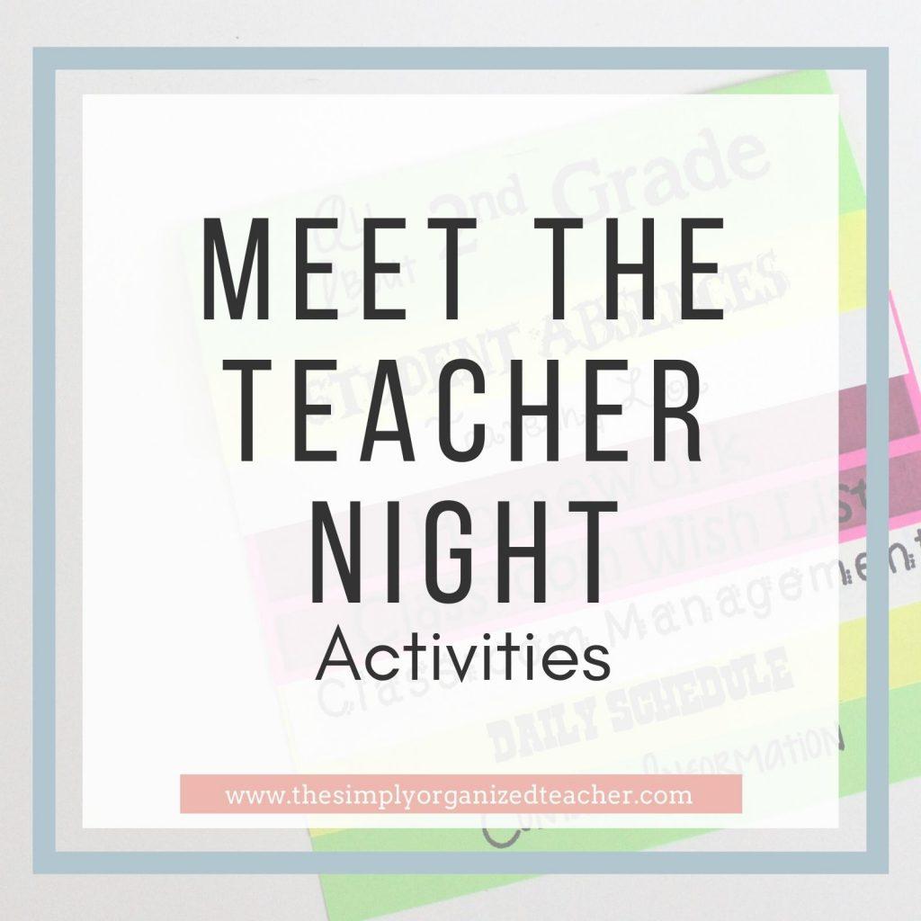 """Text overlay: \""""Meet the Teacher Night Activities\"""""""