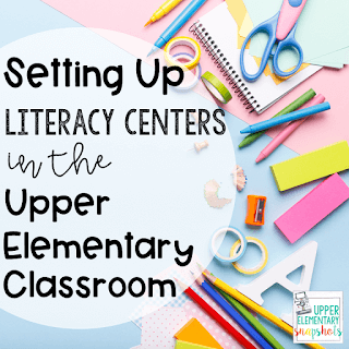 Setting Up Literacy Centers in the Upper Elementary Classroom. In the background is papers, scissors, erasers, and colored pencils.