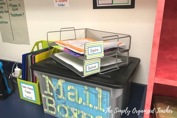 """Plastic tub with """"mailbox"""" written on it. On top of the plastic tub are two gray, metal trays, holding papers"""