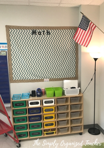 A classroom math station center with a math word wall above the centers.
