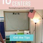 Classroom Math Word Wall over brown bookshelf with buckets. Text overlay: 10 Simple Tips to Organize Centers. Button: Get the Tips!