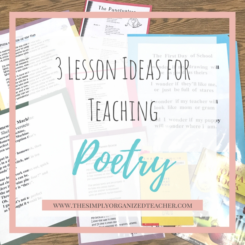 "Papers on a desk. Text overlay: ""3 Lesson Ideas for Teaching Poetry\"""