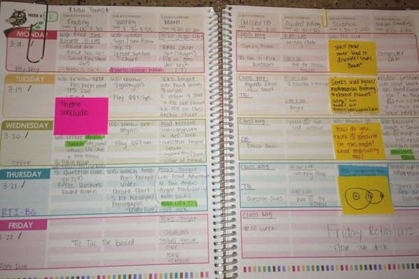 Erin Condren lesson planner opened to the daily lesson plans page. Activities written in the planner.