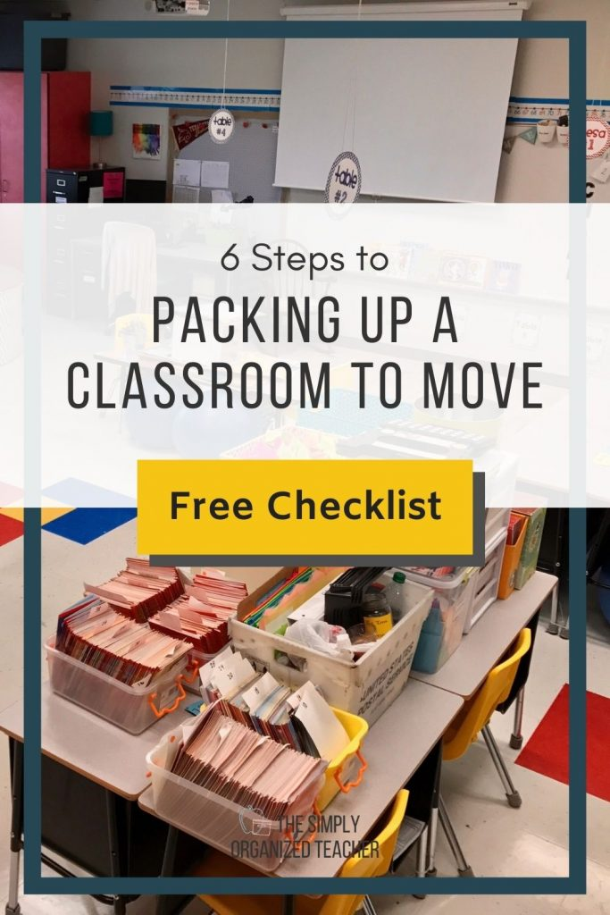 """Boxes stacked on top of tables in a classroom. Text overlay: """"6 Steps to Packing Up a Classroom to Move"""""""
