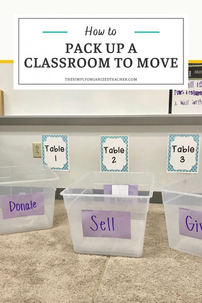 """Boxes sitting on the floor with labels """"Donate"""" """"Sell"""" and """"Give"""". Text overlay: """"How to Pack Up a Classroom to Move"""""""