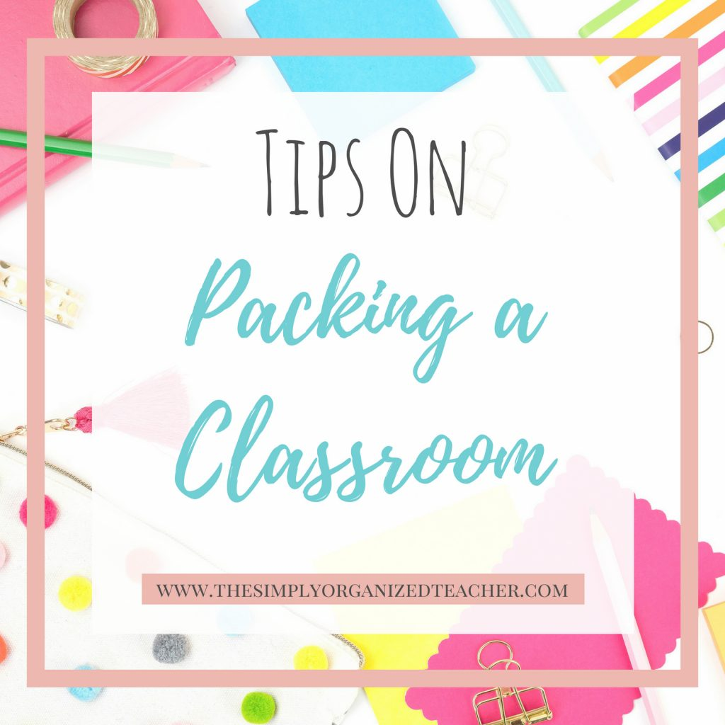 """Text overlay: Tips for Packing Up Your Classroom\"""""""