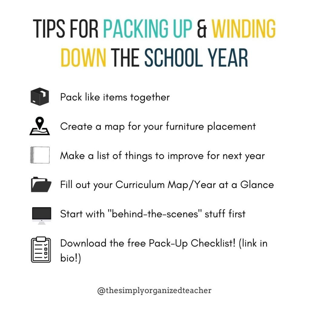 """List of tips for packing up and winding down in a school year. 1. Pack like items together 2. Create a map for your furniture placement 3. make a list of things to improve for next year 4. fill out your curriculum map or year at a glance 5. start with the """"behind the scenes"""" stuff first 6. Download the free pack-up checklist"""