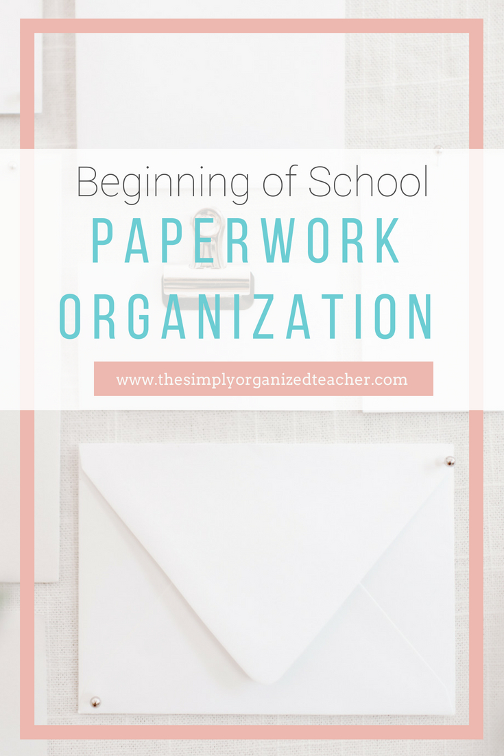 "Papers on desk. Text overlay: ""Beginning of School Paperwork Organization.\"""