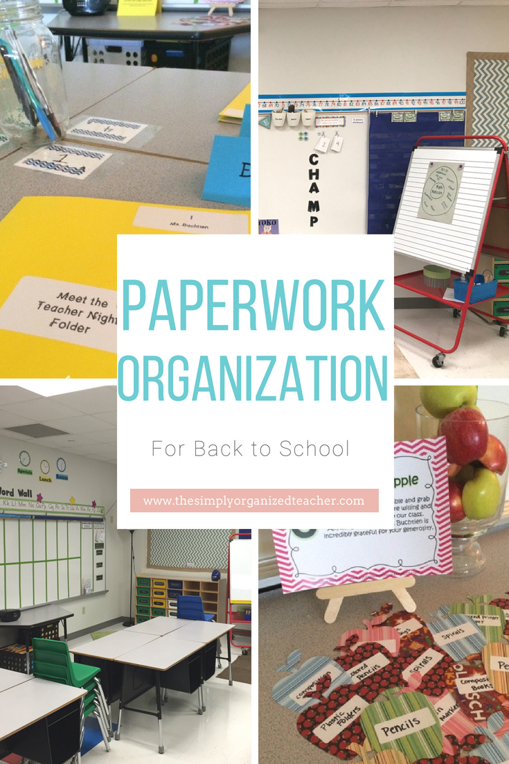 "Collage of classroom photos at beginning of school year. Text overlay: ""Paperwork Organization for back to school.\"""