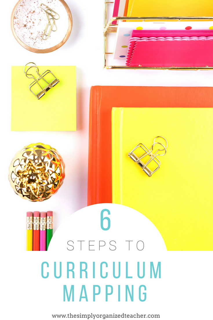 """Items on a desk. Text overlay: \""""6 steps to curriculum mapping\"""""""