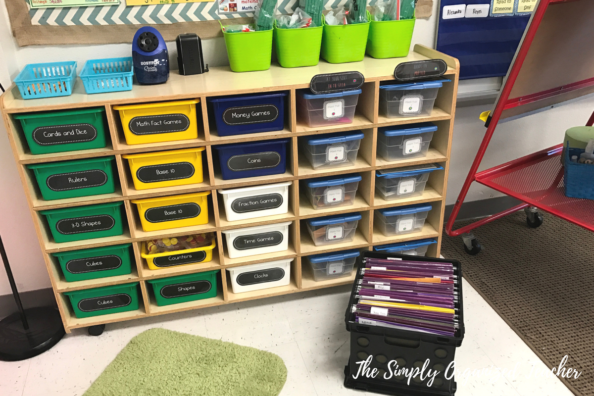 Stay organized as a teacher by implementing these 5 steps. Use bins in your classroom to organize student materials and teacher materials.