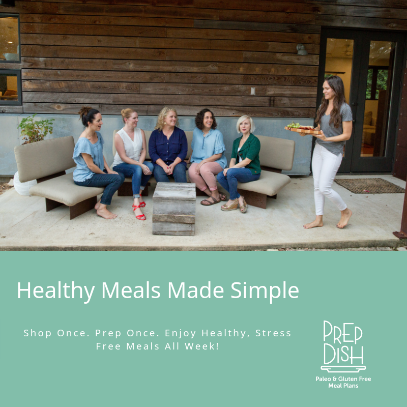 """A group of people sitting at a table. Text overlay: \""""Healthy Meals Made Simple. Prep Dish\"""""""