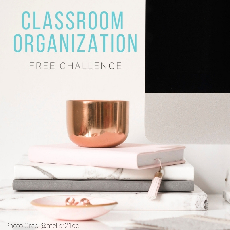 "3 journals stacked and sitting on a desk. Text overlay ""Classroom Organization Free Challenge\"""