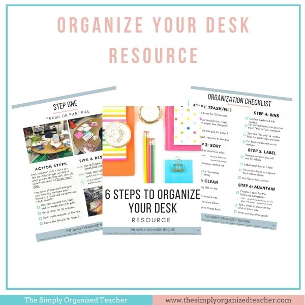 Screenshot of Organize Your Desk Resource pages.
