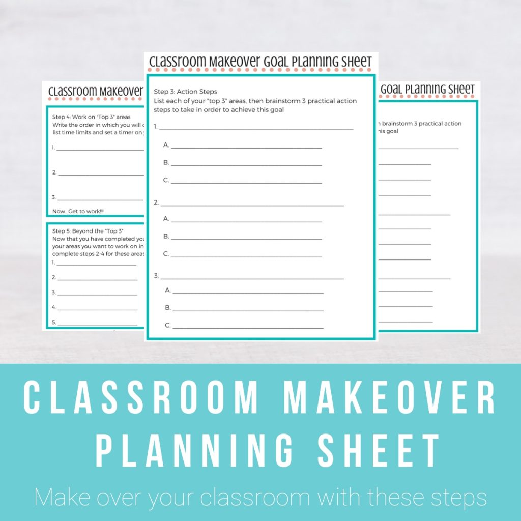 Screenshot of resources in the Classroom Makeover Goal Planing Sheet
