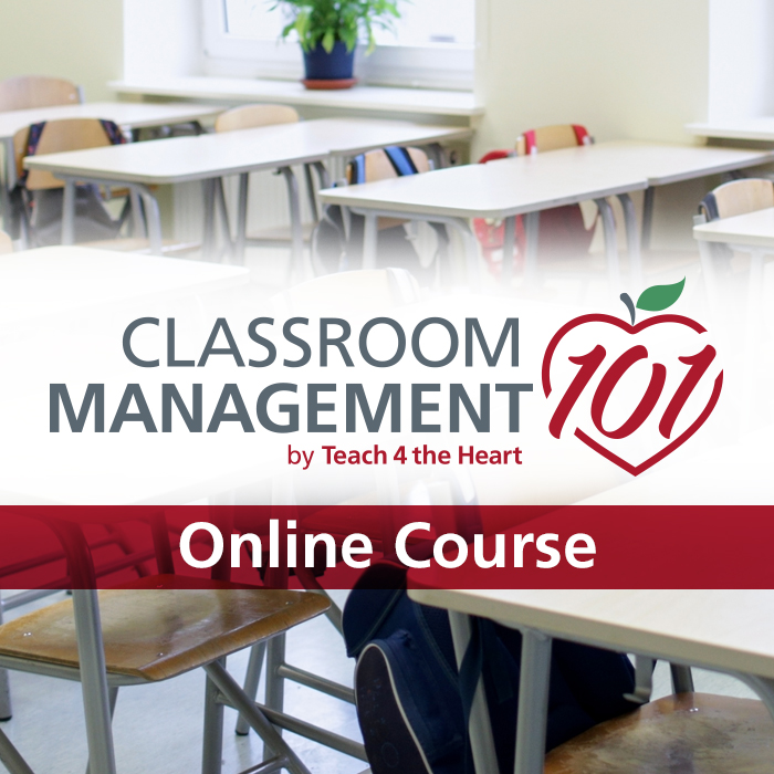 """Classroom desks in rows. Text overlay: """"Classroom Management 101 by Teach 4 the Heart. Online Course"""""""