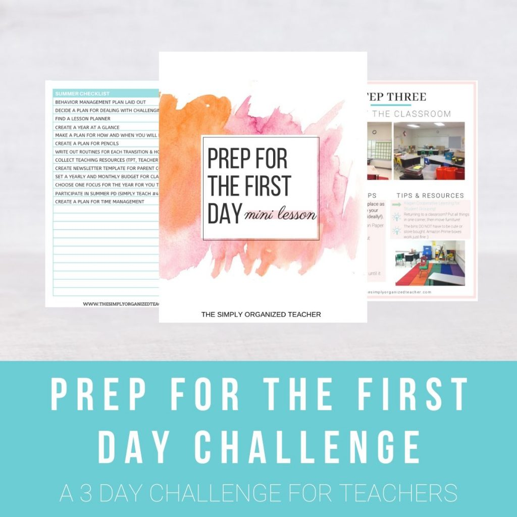 "Screen shot of resource. Text overlay: ""Prep for the First Day Challenge."""