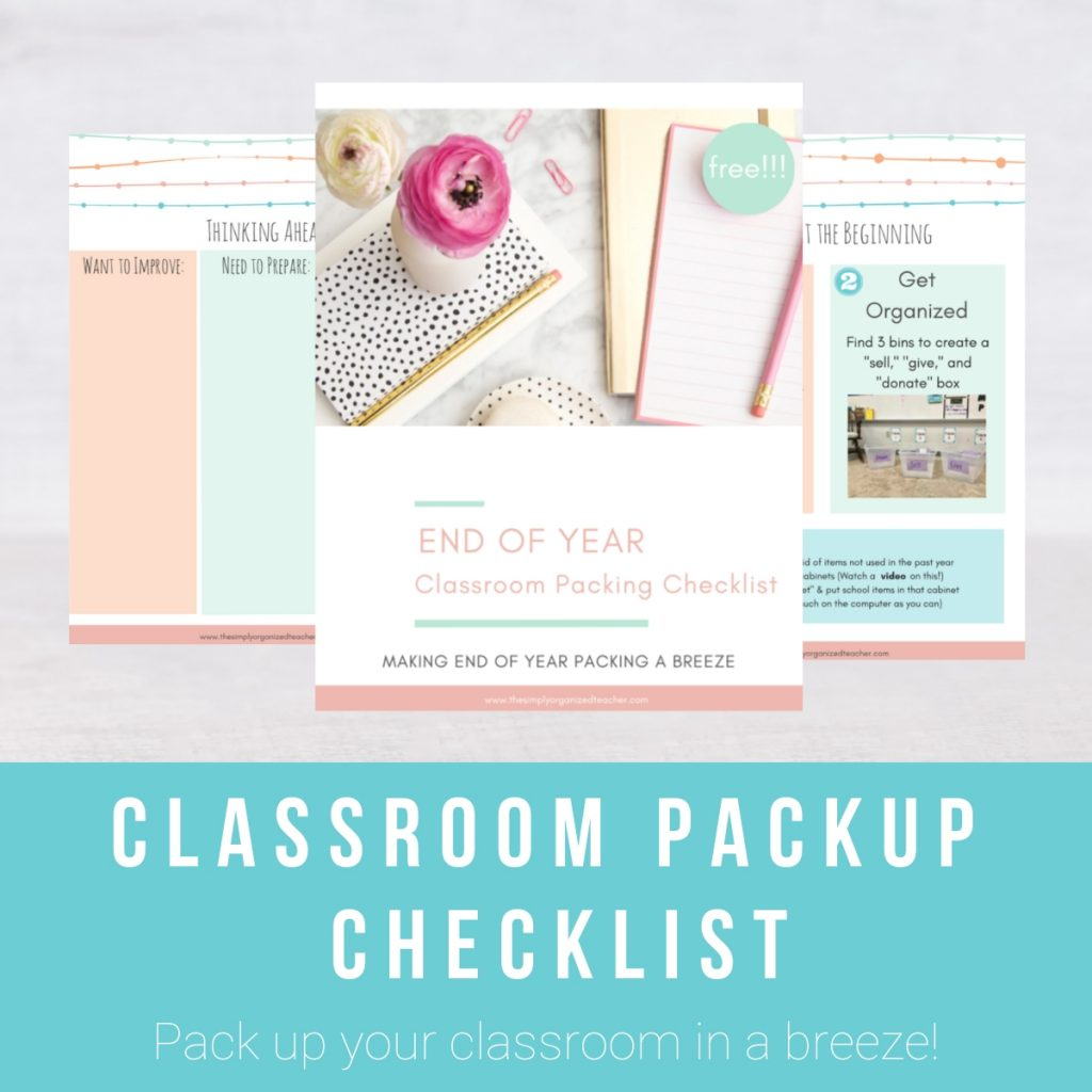 A close up of pages inside the Classroom Pack Up Checklist.