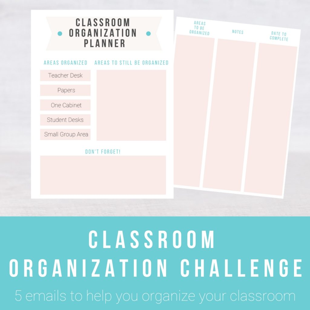 Screenshot of pages from the Classroom Organization Challenge. Click to learn more.