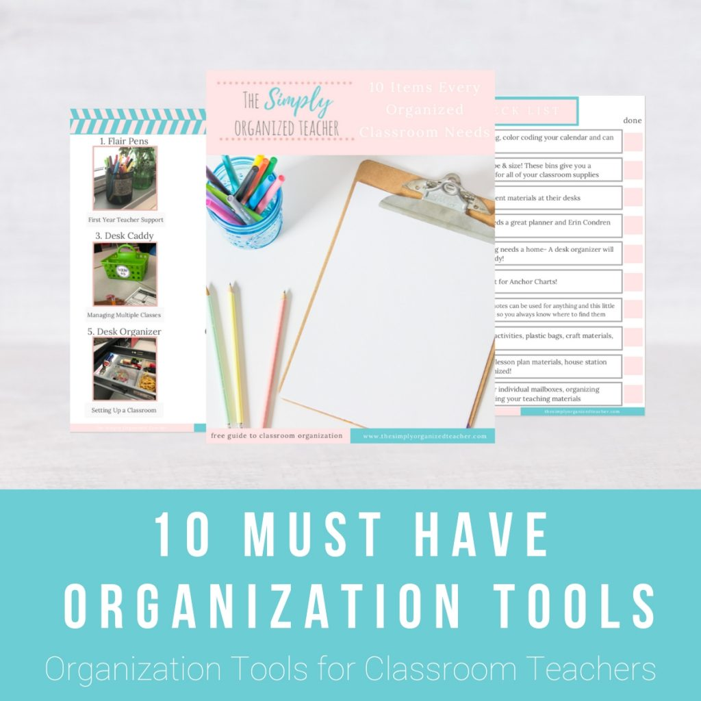 Screenshot of pages inside the 10 Must-Have Organization Tools download