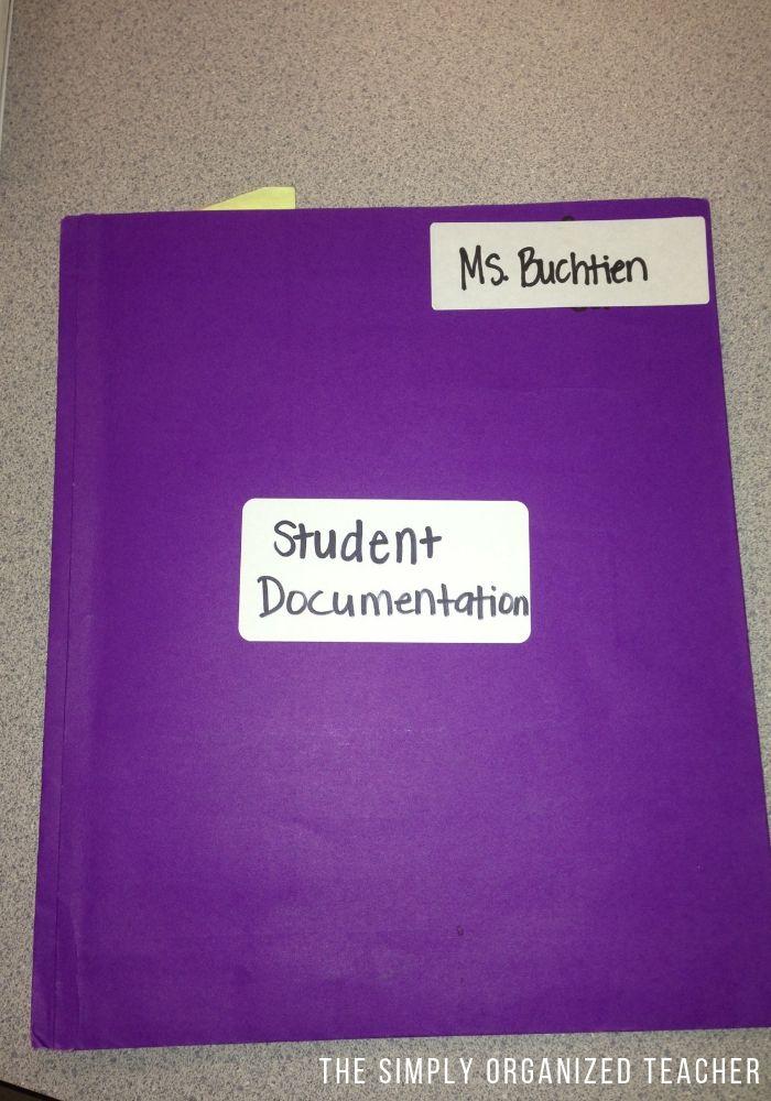 Folder for student documentation