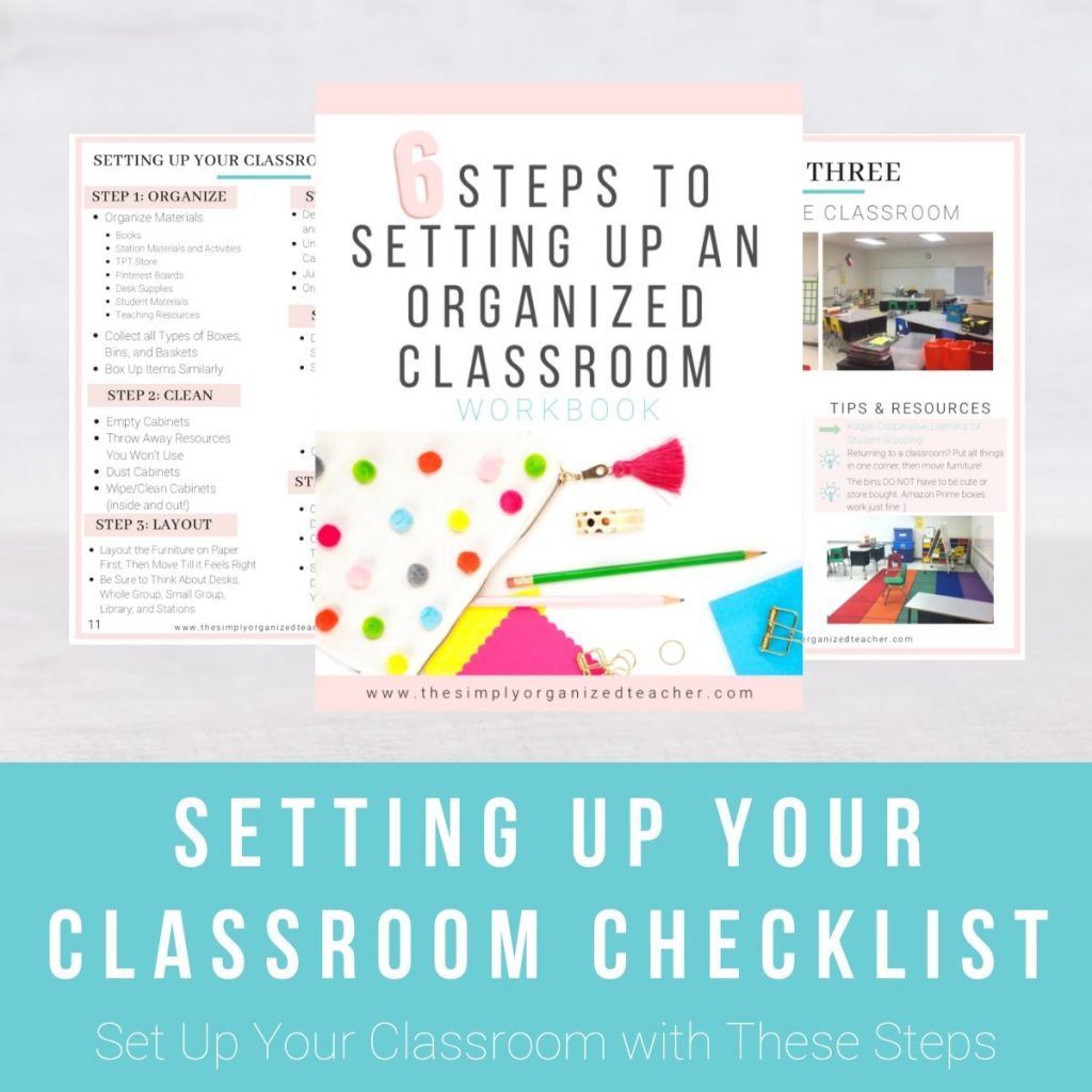 """Screen shot of resource. Text overlay: """"Setting Up Your Classroom Checklist."""""""