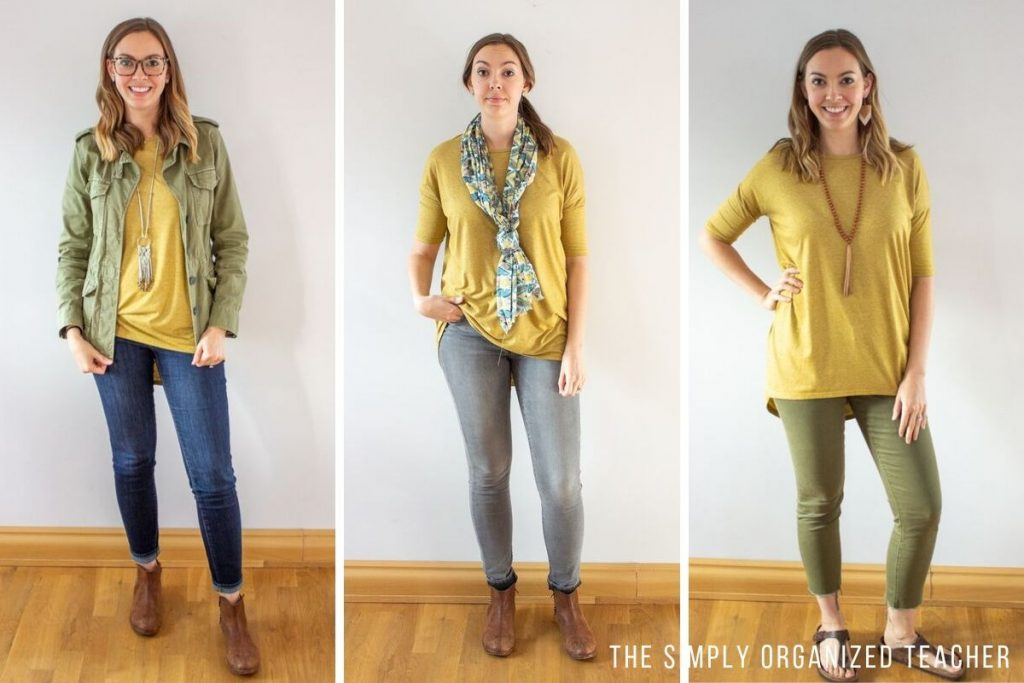 Three photos of the same woman wearing a yellow shirt three different ways. 1. with jeans and green army jacket 2. with gray jeans and scarf 3. with army green capris and burkenstocks