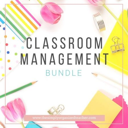 """Desk items scattered on table. Text overlay: """"Classroom Management Bundle"""""""