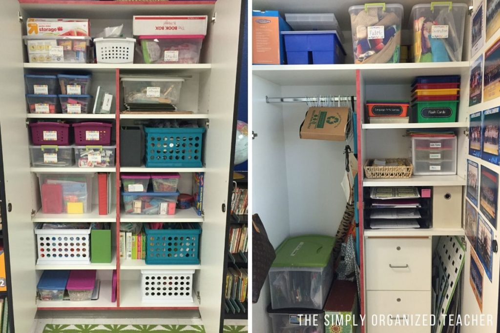 Two photos of the inside of a classroom cabinet organized by bins and boxes.