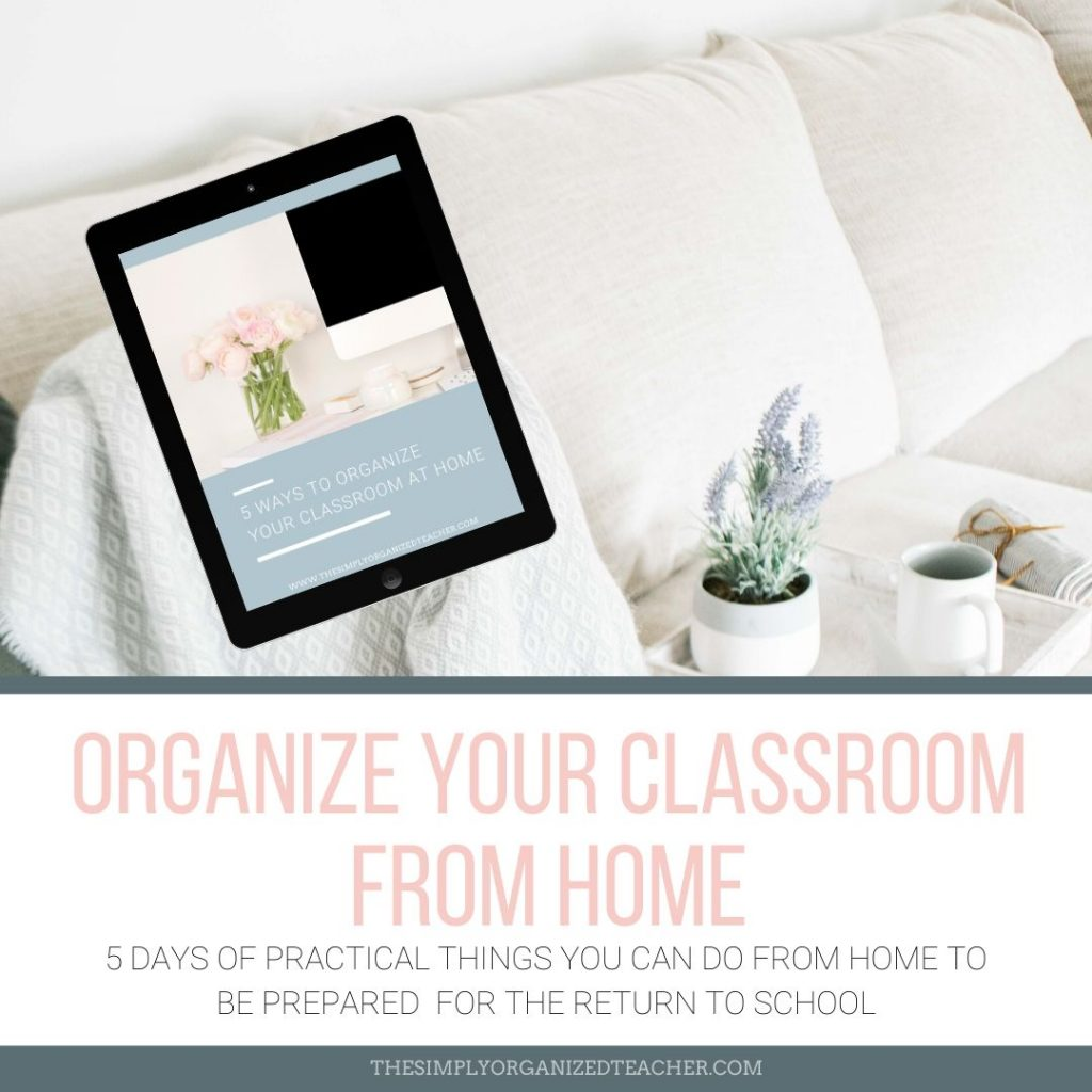 iPad mock-up of the 5 Day Organize Your Classroom from Home Challenge