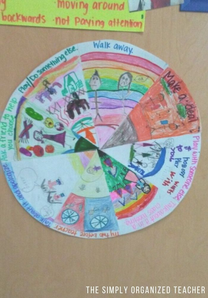 A wheel of choices for children calming down in a heated situation