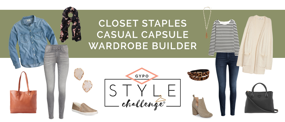 """Various clothing items. Text overlay """"Closet staples, casual capsule wardrobe builder"""". GYPO Style Challenge"""""""
