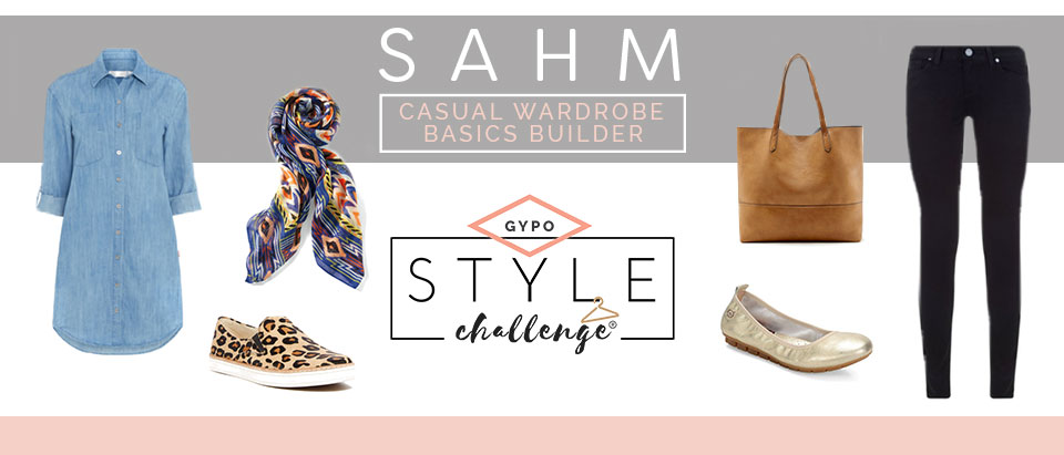 "Various clothing items. Text overlay ""SAHM. Casual wardrobe basics builder. GYPO Style Challenge"""
