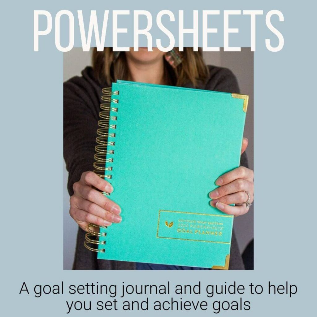 graphic about PowerSheets. A goal setting journal and guide to help you set and achieve goals.