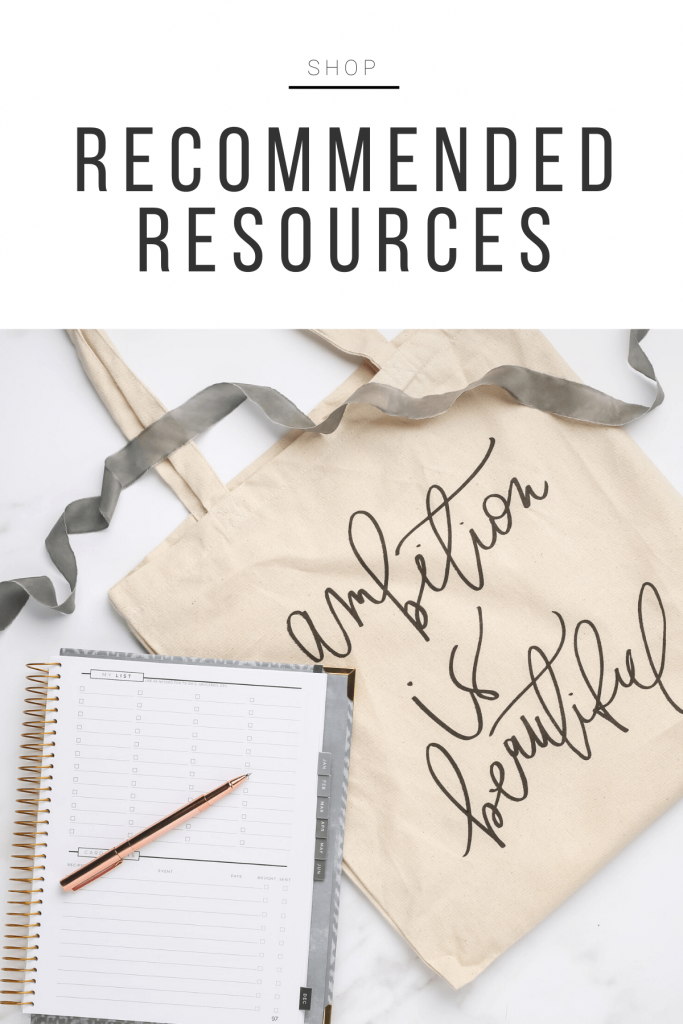 """Shop products: \""""Recommended Resources\"""""""