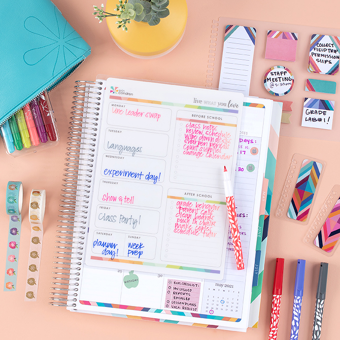 Erin Condren planner school dashboard inserted. Pens, washi tape, stickynotes, and pencil bag.