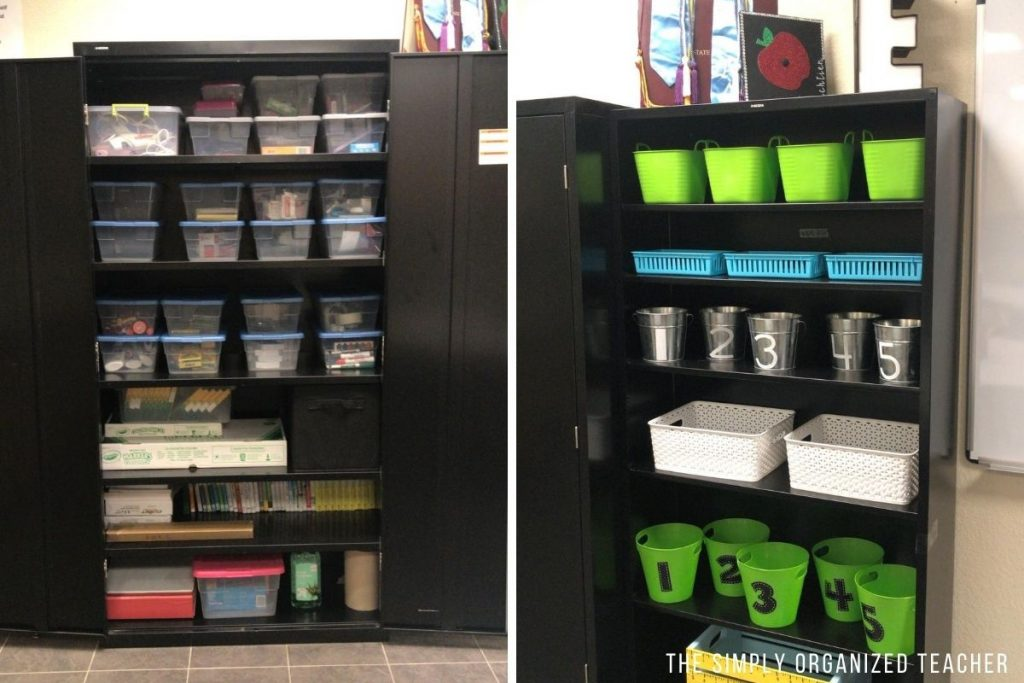 Left: Cabinet organized with buckets. Right: Bookshelf organized with buckets and bins.