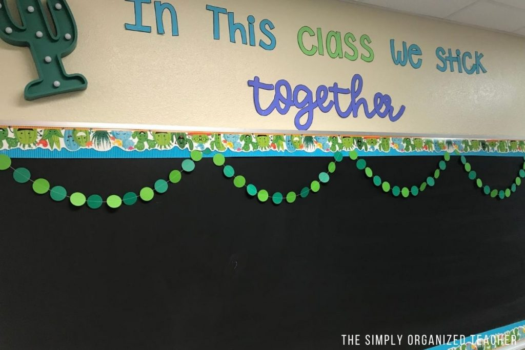 "High school classroom decoration. ""In this class we stick together.\"""