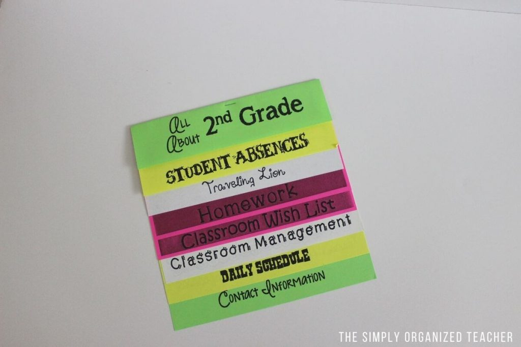 A foldable with information about the classroom.