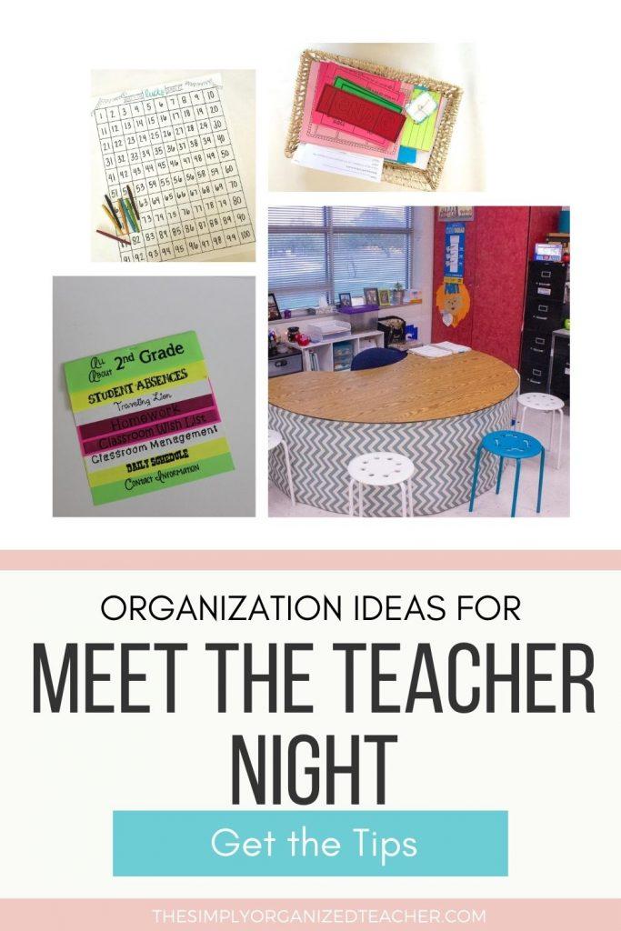 "Collage of classroom items for meet the teacher night. Text overlay: \""Organization Ideas for Meet the Teacher Night.\"""