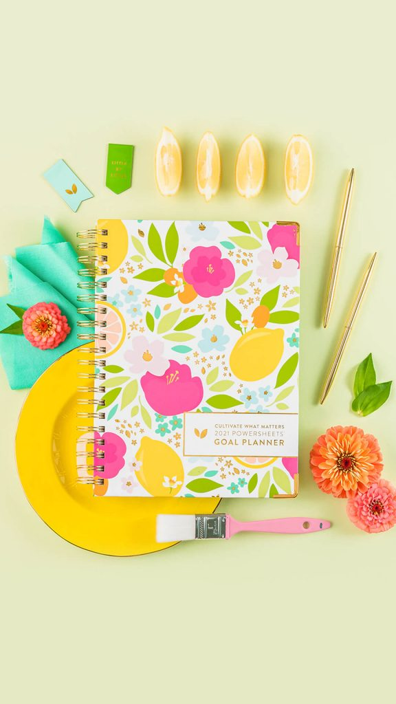 Flower themed PowerSheets planner.