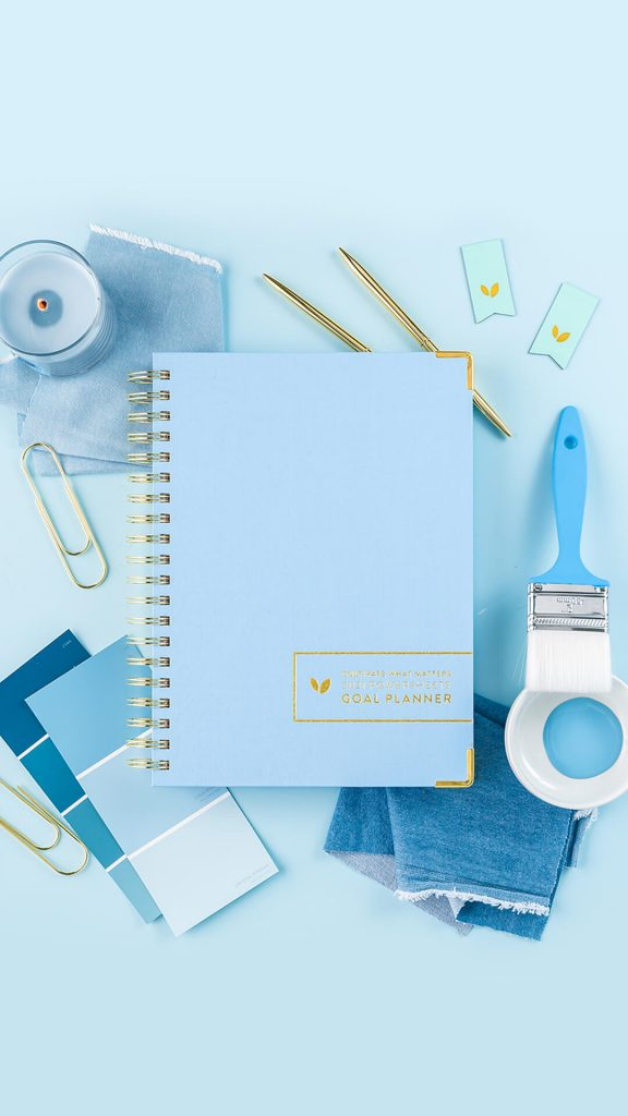 Blue themed PowerSheets planner.