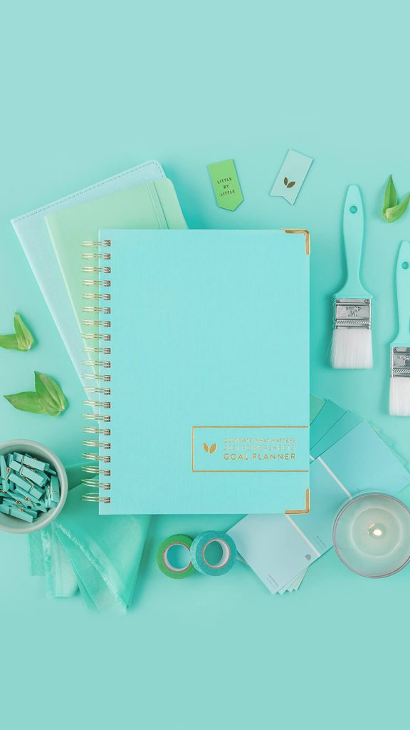 Teal themed PowerSheets planner.