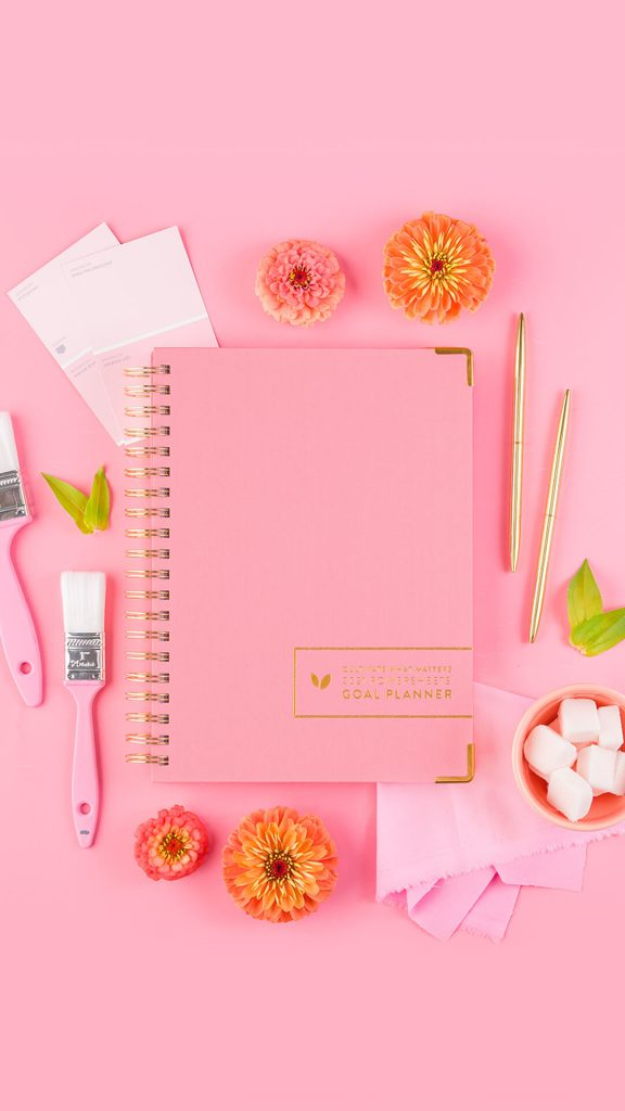 Pink themed PowerSheets planner.