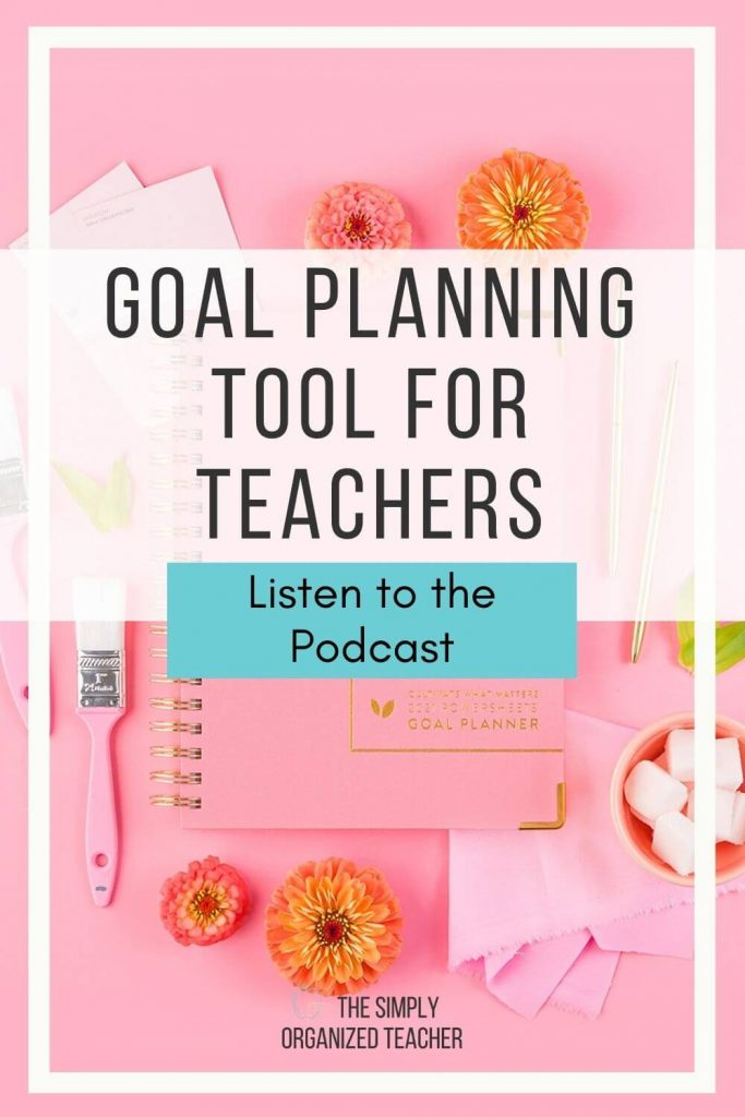 "Pinterest graphic- ""Setting Teacher Goals with PowerSheets"" and a picture of the PowerSheets Planner"